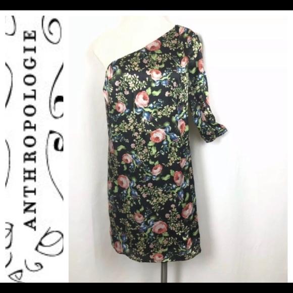 Anthropologie Dresses & Skirts - Anthro Hazel Silk Dress ~ One Shoulder ~ lined